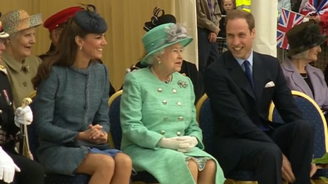 The Duchess of Cambridge, the Queen and the Duke of Cambridge