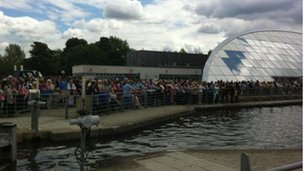 Crowds at the Falkirk Wheel