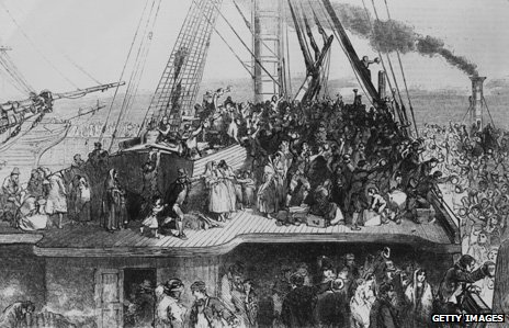 Emigrant ship from Ireland to the US, 1850