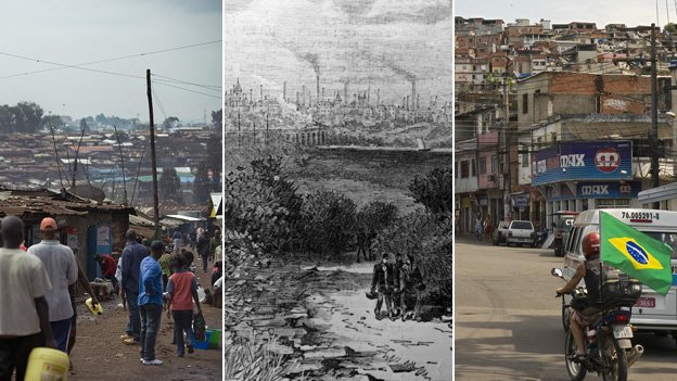 Nairobi suburbs, Preston in the 19th Century, and Rio&#039;s favelas