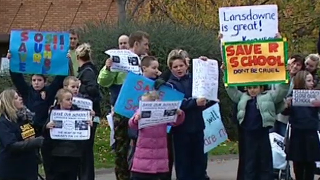 Protest against plans to close a school in Cardiff 