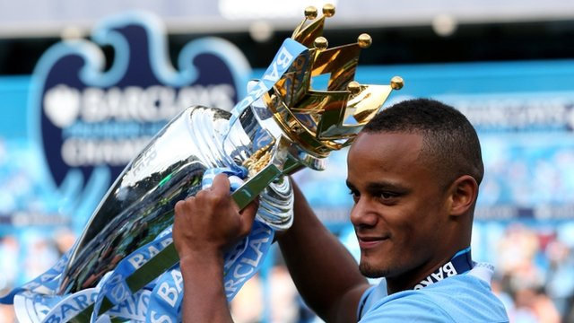 Vincent Kompany with the Premier League Trophy
