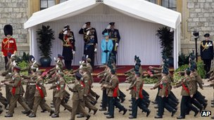 Queen at Armed Forces Military muster