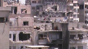 Damaged buildings near al-Khalidieh, near Homs