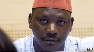 A file photo taken on October 8, 2010 shows Congolese militia leader Thomas Lubanga sitting in the courtroom of the ICC
