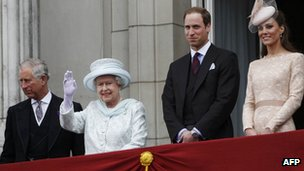 Prince Charles, HM Queen, Prince William and Catherine on Buckingham Palace balcony