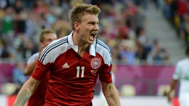 Nicolas Bendtner celebrates his second goal against Portugal