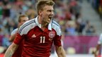 Nicolas Bendtner celebrates his second goal against Portugal