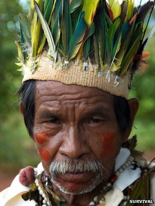 Brazilian indigenous Guarani, courtesy of Survival International