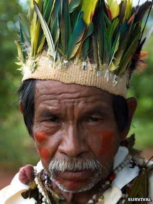 Brazilian indigenous Guarani, courtesy of Survival International