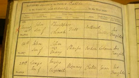 Record of birth of George Romney. Cumbria Archive and Local Studies Centre