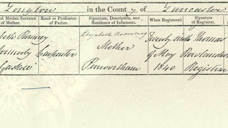 Birth certificate of Eleanor Romney. Lancashire Certificate Services