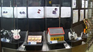 A range of the pupils' coursework on display in the shop unit.