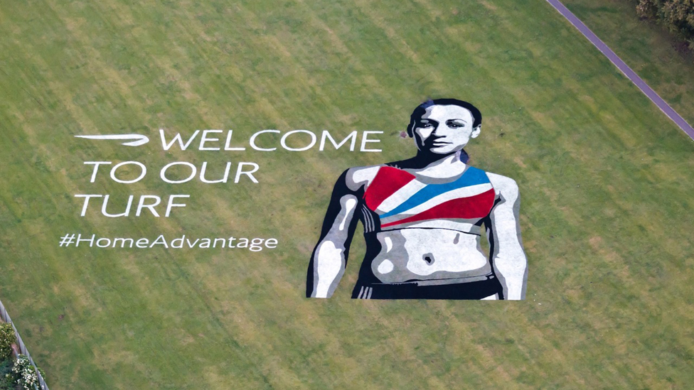 Aerial image of Jess Ennis painting on Thornbury Playing Fields, Hounslow, 14 June 2012
