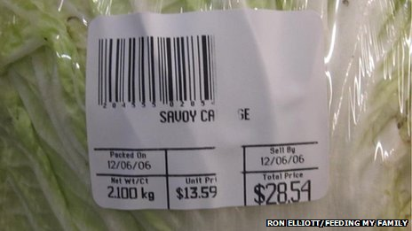 Showing a cabbage being sold for $28.54