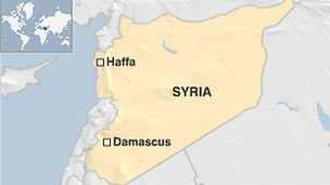 Map of Syria showing Haffa and Damascus