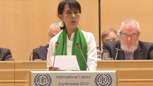 Aung San Suu Kyi addresses the ILO in Geneva