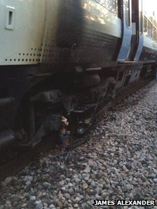 Train carriage damaged by fire