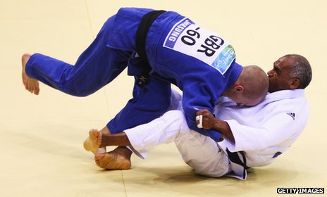 Ben Quilter (left), Paralympic Judo champion