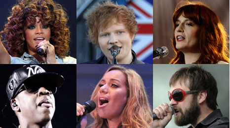 Rihanna, Ed Sheeran, Florence Welch, Jay-Z, Leona Lewis and Tom from Kasabian