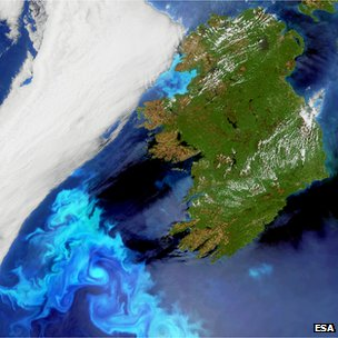 Electric blue-coloured plankton blooms swirl in the North Atlantic Ocean