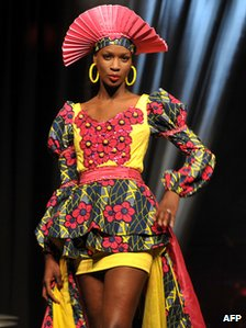 Model at Senegalese fashion show