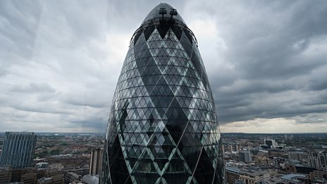 30 St Mary Axe building, aka the Gherkin, in London
