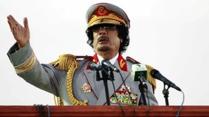 File image of Muammar Gaddafi dating from 12 June 2010