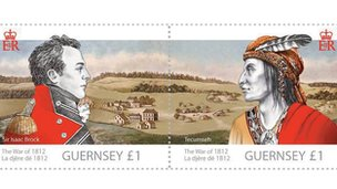 Stamp featuring portraits of Isaac Brock and Tecumseh