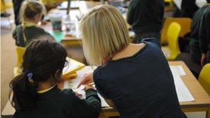 Generic teacher in classroom with pupils