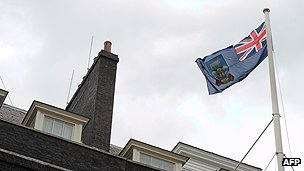 Falklands flag over 10 Downing Street