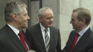 Peter Robinson, Martin McGuinness and Enda Kenny