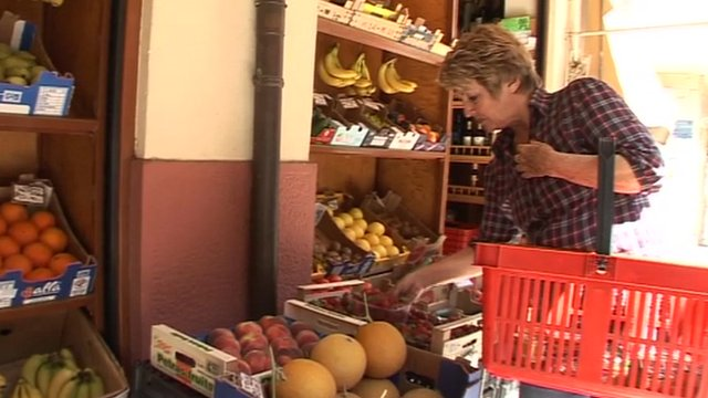 A woman shopping in Greece