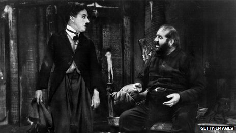 Charlie Chaplin (left) and Mack Swain in film The Gold Rush