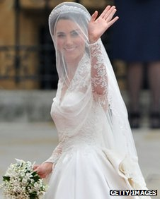 Duchess of Cambridge on her wedding day