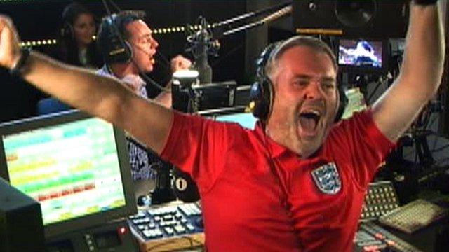 Chris Moyles celebrates England&#039;s third goal