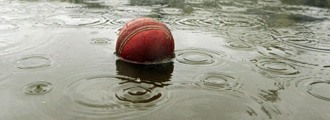 Cricket ball floating in puddle