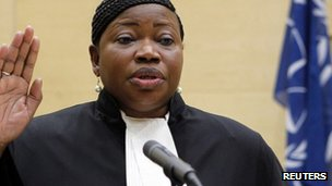 Fatou Bensouda takes the oath to become the new prosecutor of the International Criminal Court (ICC)