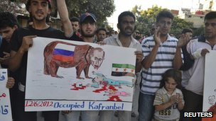Demonstrators in Kafranbel, near Idlib June 12, 2012.