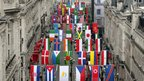 Flags of 200 nations are displayed on Regent Street on June 15, 2012 in London, England.