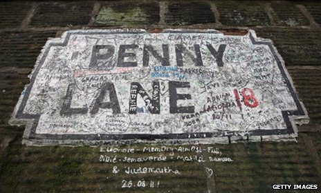 Penny Lane street sign in Liverpool
