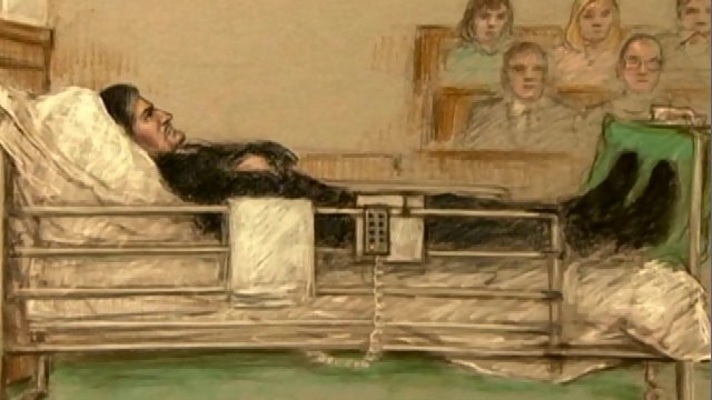 Artist's sketch of Sergei Zolotovsky at the Old Bailey during his trial