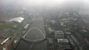 Helicopter view of the Tyne Bridge