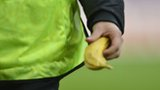 A steward holds a banana after picking it up off the pitch during the Euro 2012 football championships Group C match Italy v Croatia