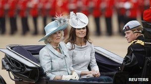 The Duchess of Cornwall, Duchess of Cambridge and Prince Harry attended the ceremony