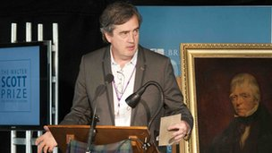 Sebastian Barry was presented with his prize by Kirsty Wark