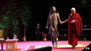 Comedian Russell Brand and the Dalai Lama