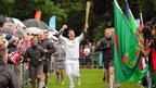 One Show presenter Matt Baker carries the torch at The Racecourse, Durham, 16 June 2012