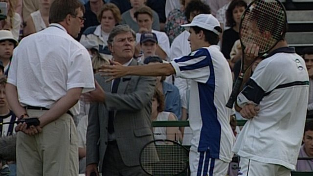 Tim Henman disqualified at Wimbledon 1995