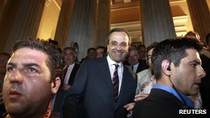 Antonis Samaras leaves Zappeion Hall in Athens after making his statement on the early election results, 17 June